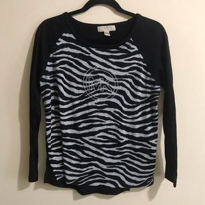 EUC Michael Kors Black and Gray Zebra Sweater